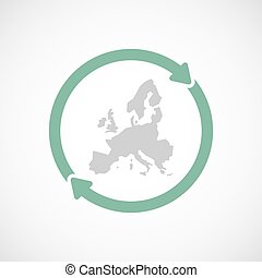 Isolated reuse icon with  a map of Europe