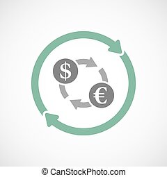 Isolated reuse icon with a dollar euro exchange sign