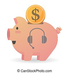 Isolated piggy bank icon with  a hands free phone device