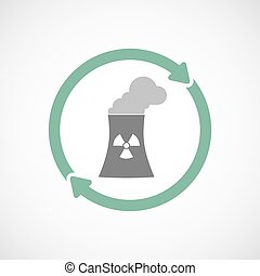 Isolated reuse icon with a nuclear power station -...