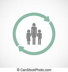 familia, Uso repetido, padre, Pictogram, aislado, solo,...