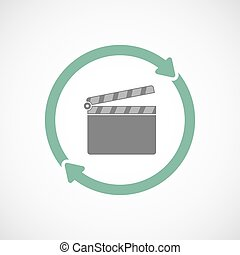 Isolated reuse icon with a clapperboard - Illustration of an...