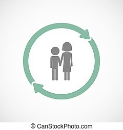 Isolated reuse icon with a childhood pictogram