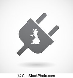Isolated male plug with  a map of the UK