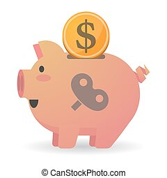 Isolated piggy bank icon with a toy crank - Illustration of...