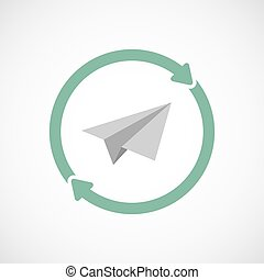 Isolated reuse icon with a paper plane