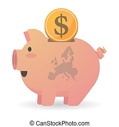Isolated piggy bank icon with a map of Europe - Illustration...