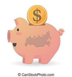 Isolated piggy bank icon with a map of Russia - Illustration...