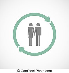 Isolated reuse icon with a heterosexual couple pictogram -...