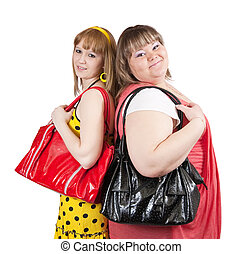 casual girls with handbags - Two casual girls with handbags...