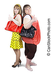 happy casual girls with handbag - Two happy casual girls...