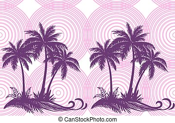 Tropical Palms and Grass Silhouettes