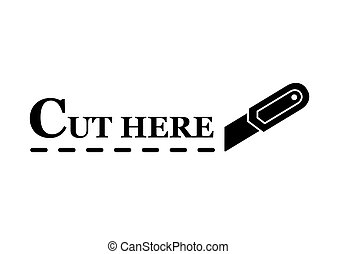 knife with dotted line - black stationery knife silhouette...