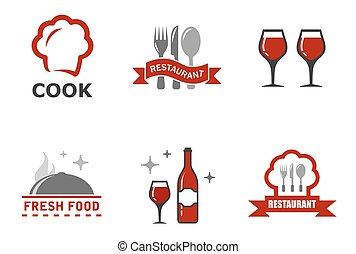 set restaurant symbols - set six restaurant symbols with red...