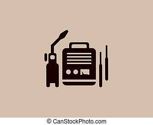 welding machine icon - background with isolated modern...
