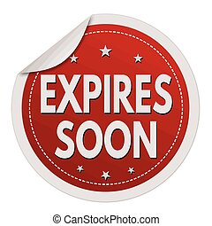 Expires soon red sticker on white background, vector...