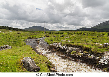 view to river and hills at connemara in ireland - nature and...