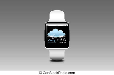 illustration of smart watch with weather forecast - modern...