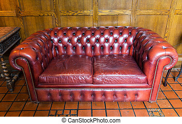 close up of vintage leather sofa