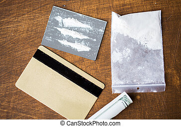 close up of crack cocaine drug dose on mirror