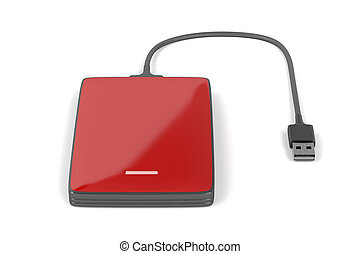 Red external hard drive - External hard drive on white...