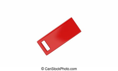Slide usb flash drive on white background