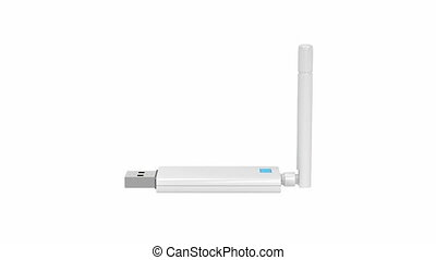 Usb wireless network adapter spin on white background