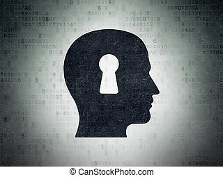 Marketing concept: Head With Keyhole on Digital Data Paper background