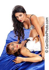 Two women in lingerie.