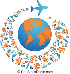 Flying around the world - Plane with tourism icons trail...