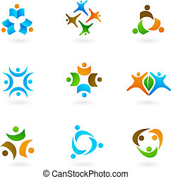 Human icons and logos 1 - Collection of human icons and...