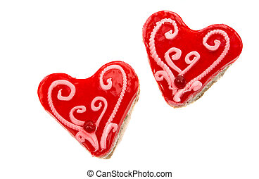 Cake heart on a white background
