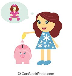 girl and moneybox on white background animation illustration