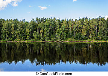 Shuya River in Karelia, summer - View of Shuya River in...