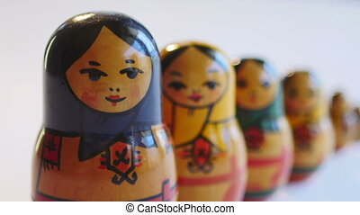 Close up of Matryoshka Doll on a white background in 4k