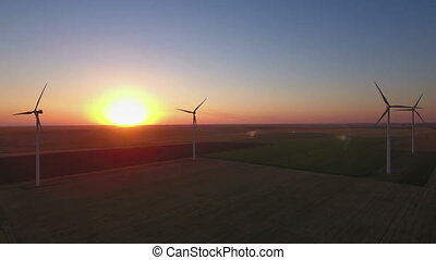Aerial view of cluster of wind turbines - Aerial view of...