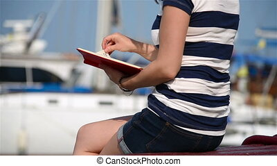 Hipster Girl With Diary - Hipster Girl Hands Hold Red Book