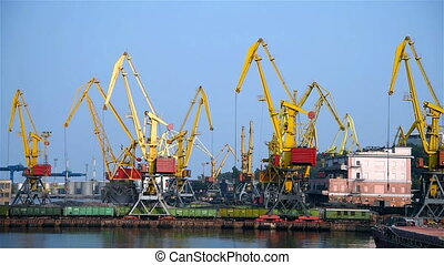 Tower Cranes In Port - Tower Cranes In The Loads Sand In...