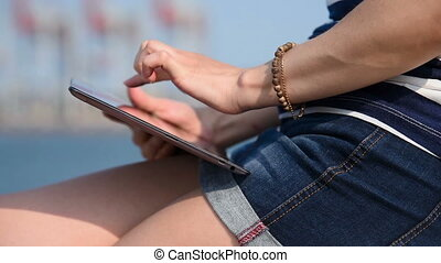 Hipster Girl Touching Tablet