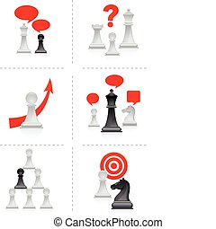 Chess metaphors - Six business concepts illustration with...