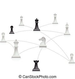 Chess network - Chess figures connected in a network