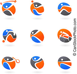 Abstract sport icons backgrounds logos