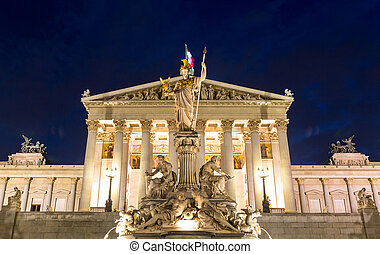 Austrian Parliament in Vienna austria at night