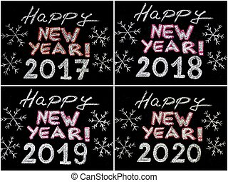 Happy new year 2017, 2018, 2019, 2020, hand writing with...
