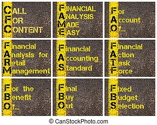 Photo collage of business acronyms - Photo collage of...