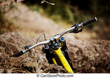 closeup of handlebar of a sports Bicycle for downhill
