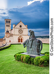 Famous architecture in Assisi, Umbria, Italy