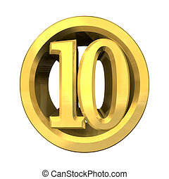 3d number 10 in gold  - 3d made - number 10 in gold