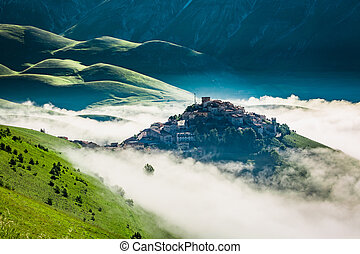 Breathtaking sunrise in the mountains, Umbria, Italy