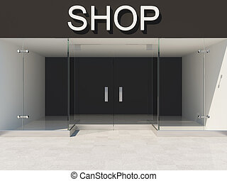 Empty glass showcase - New shop with empty glass showcase 3D...